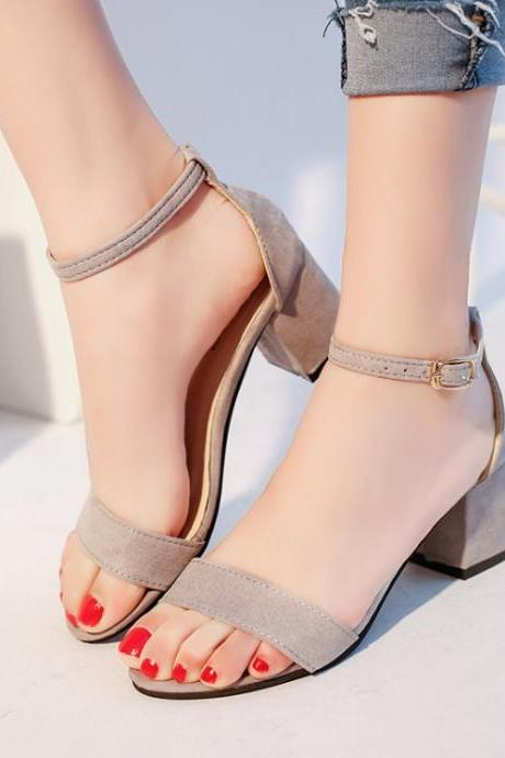 Coarse heel bare toe suede sexy buckle Rome shoes
